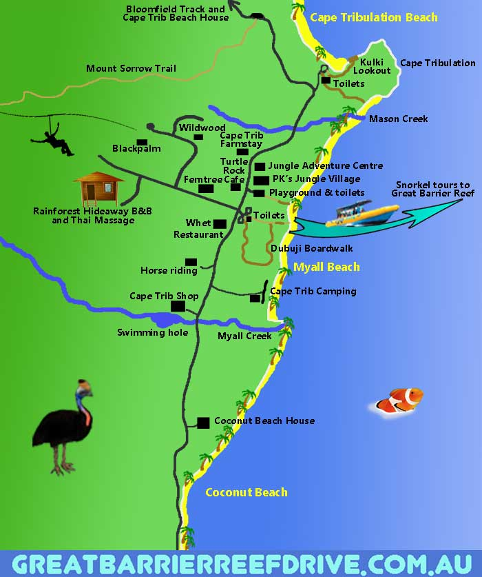 Great Barrier Reef Karte.Maps Of The Great Barrier Reef Drive From Cairns To Cape Tribulation
