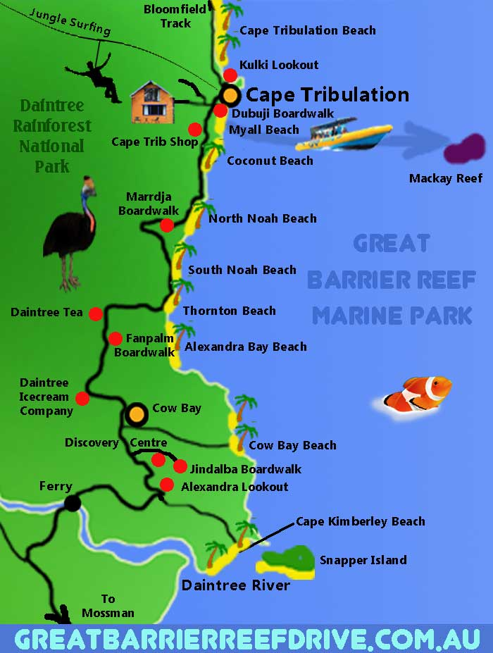 Maps of The Great Barrier Reef Drive from Cairns to Cape ...